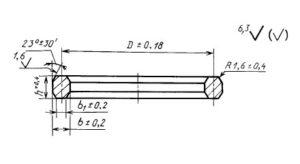 Чертеж прокладки овального сечения ГОСТ 28919-91 тип П