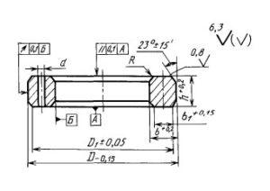 Чертеж прокладки овального сечения ГОСТ 28919-91 тип БХ